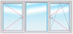 DEXEN В70 1500х1800 стеклопакет 40мм Siegenia